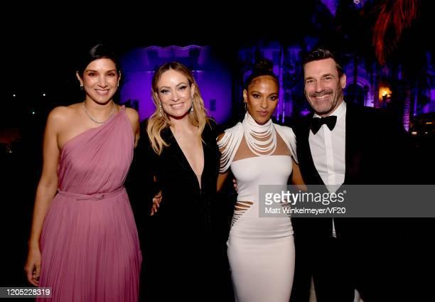 Vanity Fair Editor-in-Chief Radhika Jones, Olivia Wilde, Megalyn Echikunwoke, and Jon Hamm attend the 2020 Vanity Fair Oscar Party hosted by Radhika...