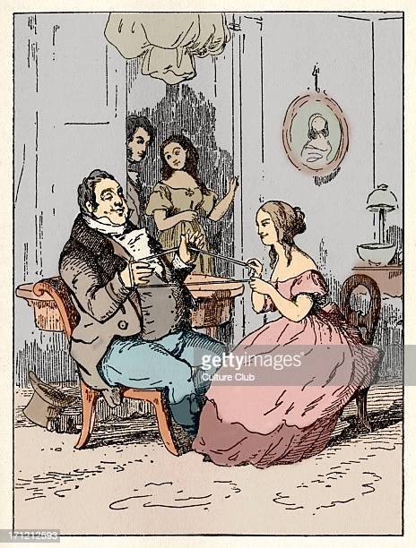 Vanity Fair picture of a scene from the book by William Makepeace Thackeray of 'Mr Joseph entangled' English novelist 18 July 1811 24 December 1863...