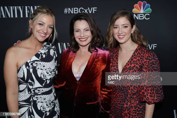 EVENTS NBC Vanity Fair Primetime Party Pictured Abby Elliott Fran Drescher Jessy Hodges Indebted at The Henry in Los Angeles CA on November 11 2019