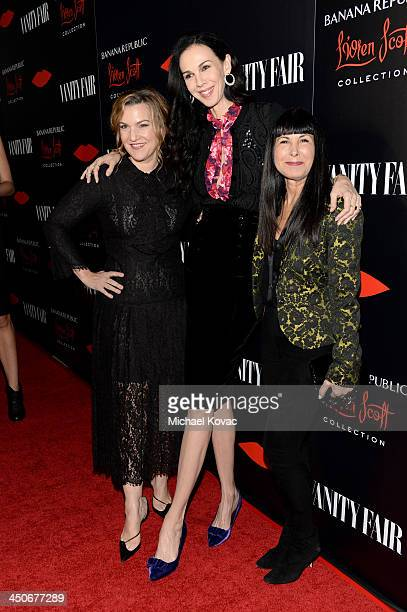 Vanity Fair West Coast Editor Krista Smith fashion designer L'Wren Scott and Banana Republic Global CMO Catherine Sadler attend the launch...