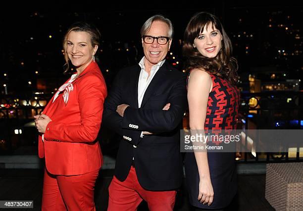 Vanity Fair West Coast Editor Krista Smith fashion designer Tommy Hilfiger and actress/designer Zooey Deschanel attend the Zooey Deschanel for Tommy...