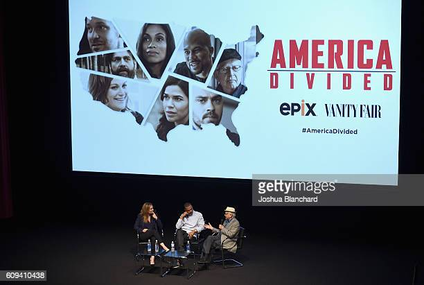 Vanity Fair West Coast Editor Krista Smith senior producer Jesse Williams and executive producer Norman Lear speak onstage during EPIX America...