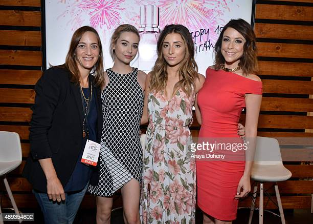 Vanity Fair's Associate Publisher Jenifer Berman social media influencers Amanda Steele Lauren Elizabeth and Shira Lazar pose onstage during Vanity...