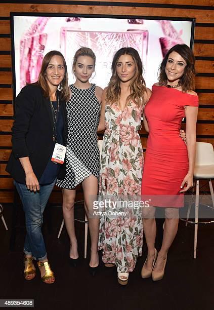 Vanity Fair's Associate Publisher Jenifer Berman social media influencers Amanda Steele Lauren Elizabeth and Shira Lazar pose onstage during Vanity...