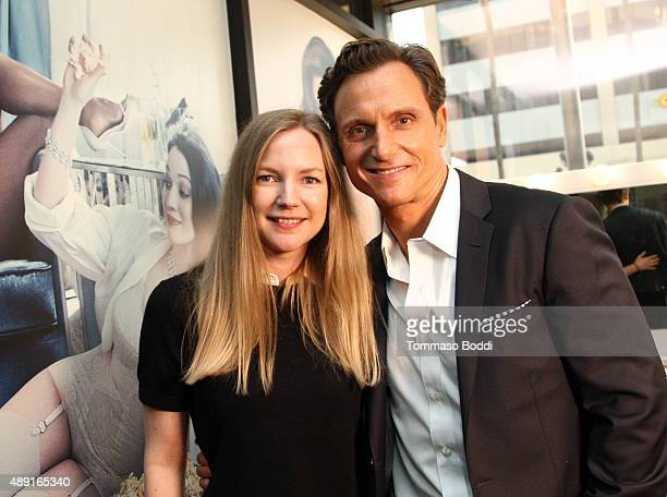 Vanity Fair's Emily Poenisch and Actor/Director/Producer Tony Goldwyn pose during Vanity Fair Social Club's In Conversation with panel series at...