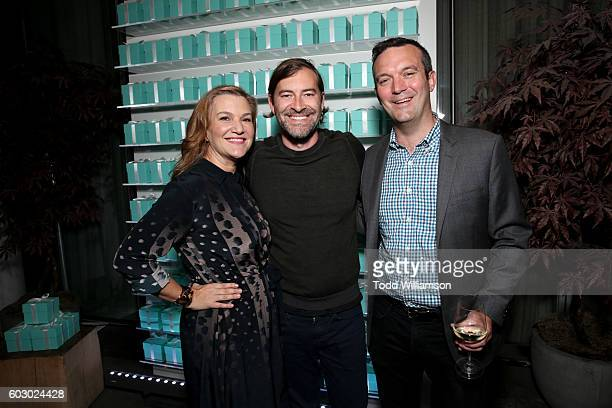 Vanity Fair's executive west coast editor Krista Smith actor Mark Duplass and Mike Hogan attend the Vanity Fair and Tiffany Co private dinner...