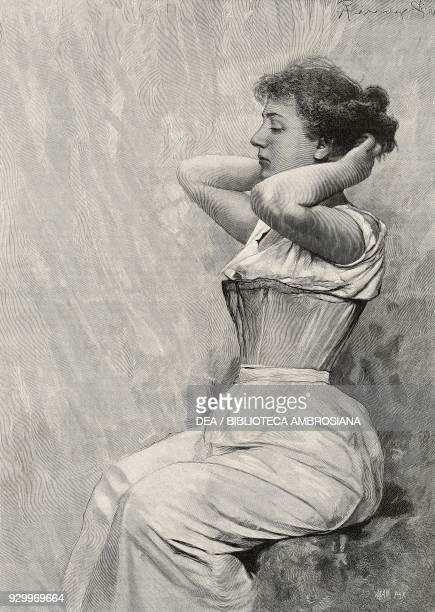 Vanity, female figure, engraving by Mancastroppa from a painting by Arnaldo Ferraguti, from L'Illustrazione Italiana, Year XXII, No 42, October 20,...