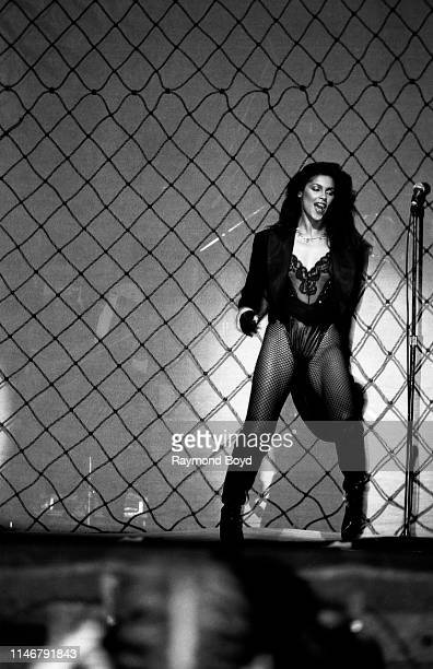 """Vanity from Vanity 6 performs at the Auditorium Theatre in Chicago, Illinois in January 1983. """"n"""