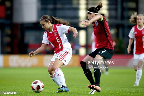 Vanity Lewerissa of Ajax Women Adela Odehnalova of Sparta Praha Women during the UEFA Champions League Women match between Ajax v Sparta Prague at...