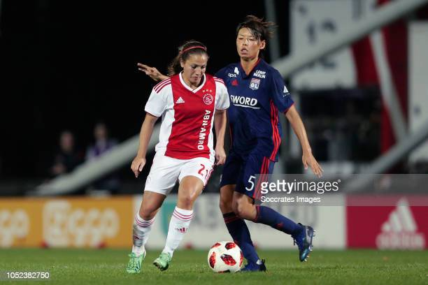 Vanity Lewerissa of Ajax Women Saki Kumagai of Olympique Lyon Women during the match between Ajax v Olympique Lyon at the De Toekomst on October 17...