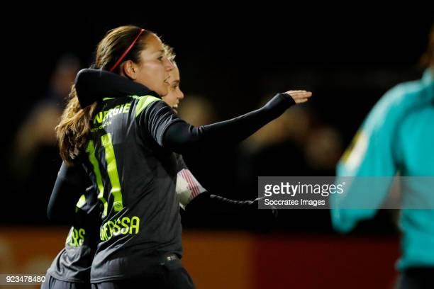 Vanity Lewerissa of PSV Women celebrates 01 with Jeslynn Kuipers of PSV Women during the Dutch Eredivisie Women match between Ajax v PSV at the De...