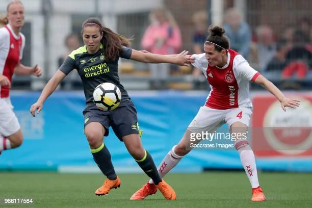 Vanity Lewerissa of PSV Women Merel van Dongen of Ajax Women during the Dutch KNVB Beker Women match between Ajax v PSV at the Sportpark de Westmaat...