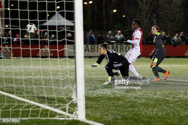 Vanity Lewerissa of PSV Women scores the first goal to make it 01 during the Dutch Eredivisie Women match between Ajax v PSV at the De Toekomst on...