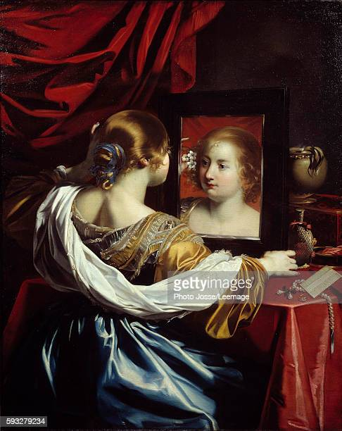 Vanity or Young woman at her toilet Painting by Nicolas Regnier 1626 13 x 105 m BeauxArts Museum Lyon France
