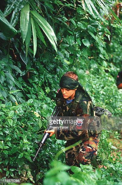 Vanja a young Swedish woman with the Karen guerillas training in the jungle near a Karen National Union camp