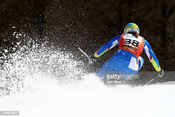 Vanja Brodnik of Slovenia competes in the Women's Giant Slalom during the FIS Alpine Skiing European Cup Finals at Rosa Khutor Alpine Center on March...
