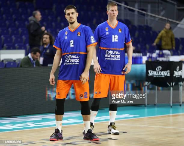 Vanja Marinkovic and Brock Motum of Valencia Basket look on prior to the 2019/2020 Turkish Airlines EuroLeague Regular Season Round 12 match between...