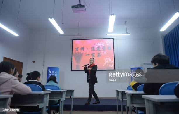 Vanke chairman Wang Shi gives a lesson at Zundao School at Miaozhu on March 14 2017 in Deyang Sichuan Province of China Vanke founder and chairman...