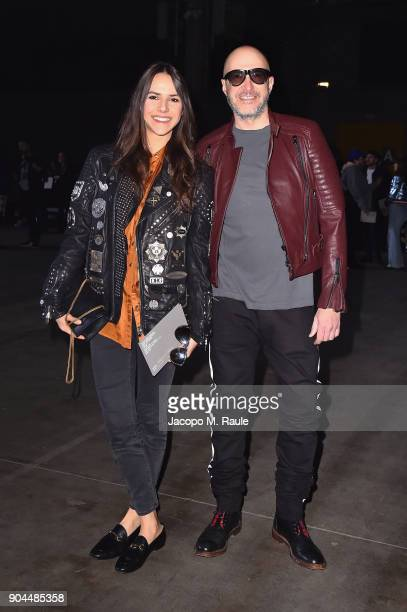 Vanna Quattrini and Saturnino Celani attend the Diesel Black Gold show during Milan Men's Fashion Week Fall/Winter 2018/19 on January 13 2018 in...