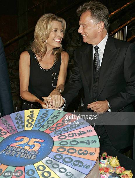 Vanna White and Pat Sajak cut the cake at the 'Wheel of Fortune' 25th Anniversary Party Sponsored by People Magazine on September 27 2007 at Radio...