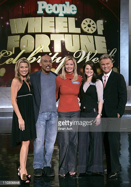 """Vanna White, Montel Williams, Sandra Lee, Kristan Cunningham, and Pat Sajak at the taping of the """"Wheel of Fortune"""" 25th Anniversary People Magazine..."""