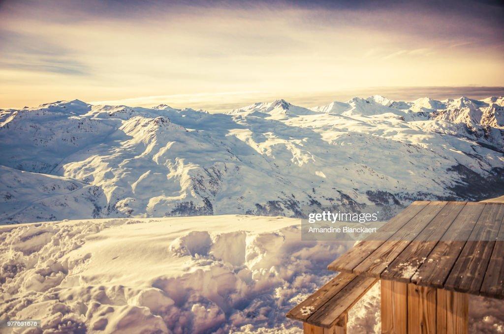 Vanoise massif in Vanoise National Park in winter, Savoie, Auvergne-Rhone-Alpes, France : Stock Photo