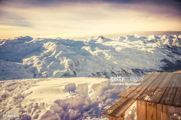 vanoise massif in vanoise national park in winter, savoie, auvergne-rhone-alpes, france - trois vallees - fotografias e filmes do acervo