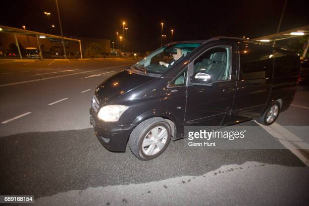 Vans wait to pick up Schapelle Corby at Brisbane International Airport on May 28 2017 in Brisbane Australia Corby was arrested in 2004 for attempting...