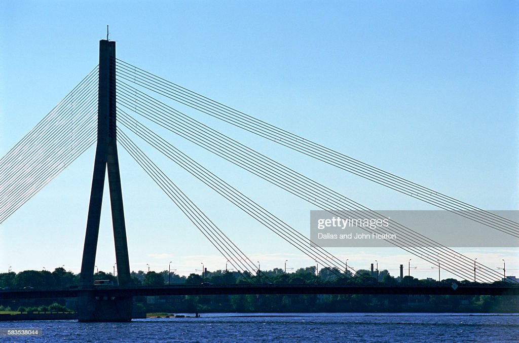 Vansu Bridge, Daugava River, Riga, Latvia : Stock Photo