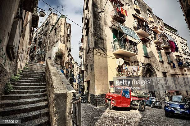 Vantage point shot of the streets of Naples in Italy