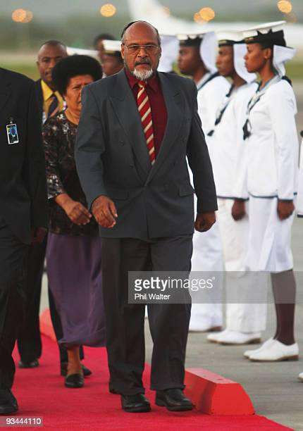 Vanuatu Prime Minister Edward Nipaka Natapei arrives ahead of tomorrow's Commonwealth Heads of Government Meeting at the Piarco International Airport...