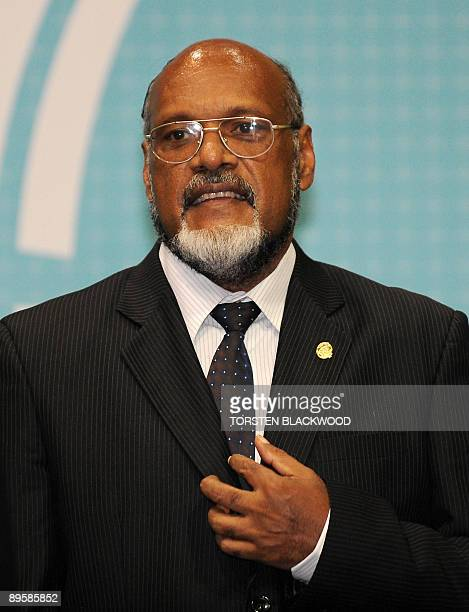Vanuatu Prime Minister Edward Nipake Natapei arrives the 40th Pacific Islands Forum summit in Cairns on August 4 2009 Pacific island leaders said...