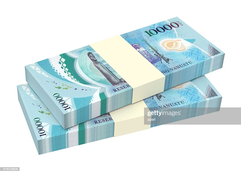 Vanuatu vatu bills isolated on white background. : Bildbanksbilder