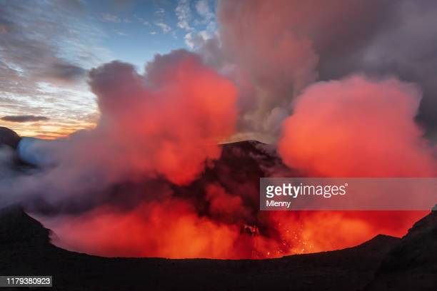 vanuatu volcano eruption mount yasur tanna island - active volcano stock pictures, royalty-free photos & images