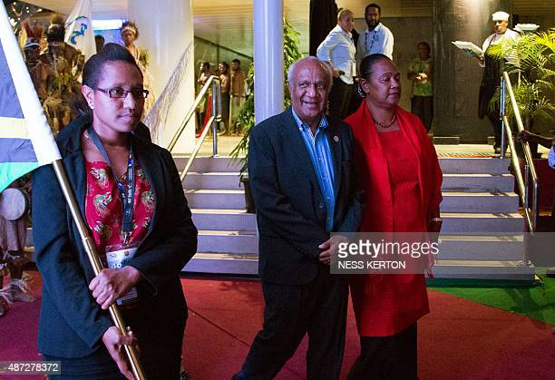 Vanuatu's Prime Minister Sato Kilman arrives for the official opening of the 46th Pacific Islands Forum in Port Moresby on September 8 2015 The...