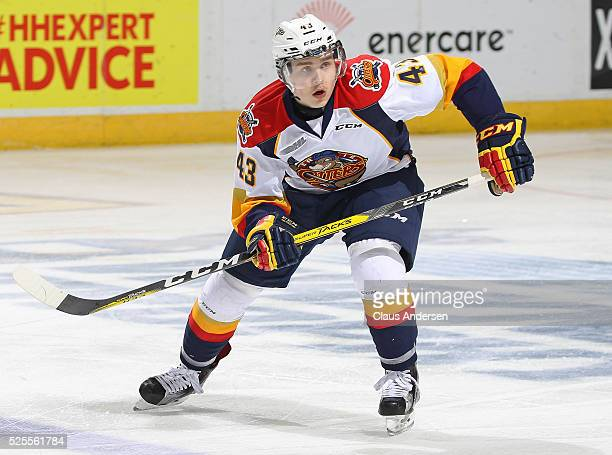Vanya Lodnia of the Erie Otters skates against the London Knights during game four of the OHL Western Conference Final on April 27 2016 at Budweiser...
