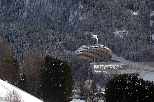 Vapor rises from a chimney at the InterContinental hotel Davos operated by InterContinental Hotels Group Plc ahead of the World Economic Forum in...