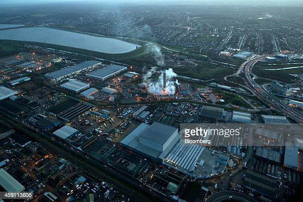 Vapor rises from a chimney at the London EcoPark solid waste incinerator near the William Girling reservoir in this aerial photograph taken in the...
