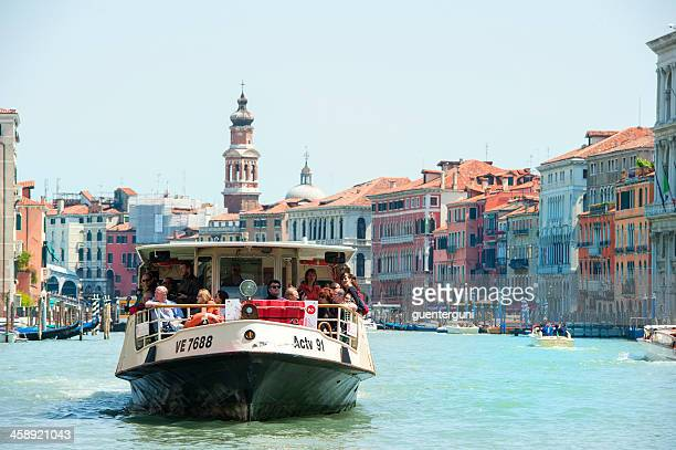 vaporetto boat at canale grande, italy - vaporetto stock photos and pictures
