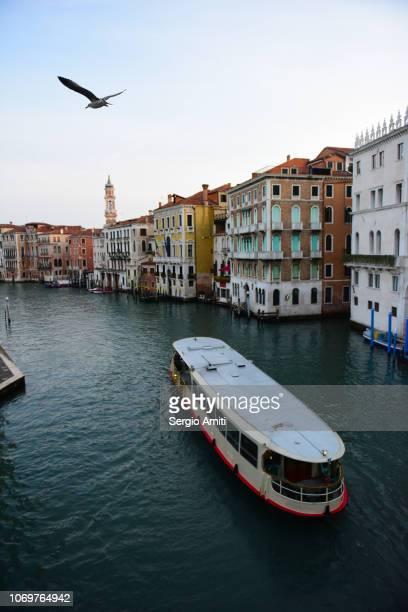 vaporetto on canal grande in venice - vaporetto stock-fotos und bilder