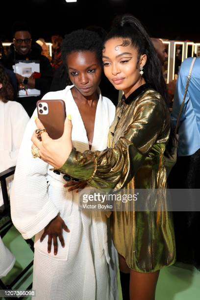 Vaquel Tyies and Yara Shahidi are seen backstage at the Gucci Backstage during Milan Fashion Week Fall/Winter 2020/21 on February 19, 2020 in Milan,...
