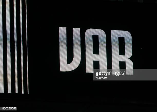 Var during Serie A match between Juventus v Fiorentina in Turin on September 20 2017