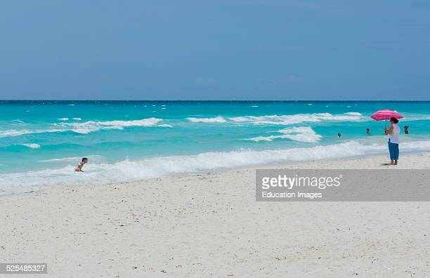 Varadero Beach Cuba with blue water and waves in the best beach in Cuba