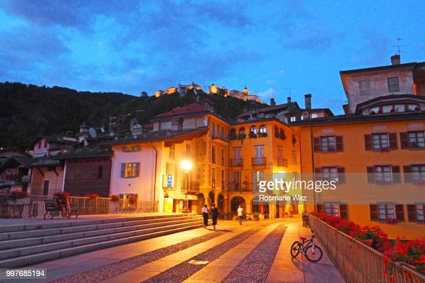 Varallo old houses seen from Ponte Antonini bridge at night