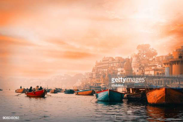varanasi at sunrise - pilgrimage stock pictures, royalty-free photos & images