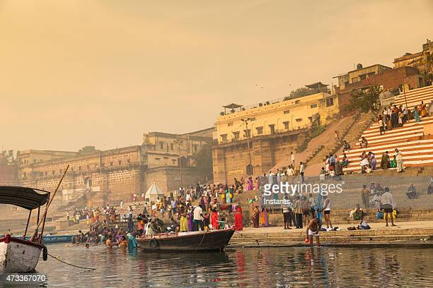 varanasi bathers - ganges river stock pictures, royalty-free photos & images