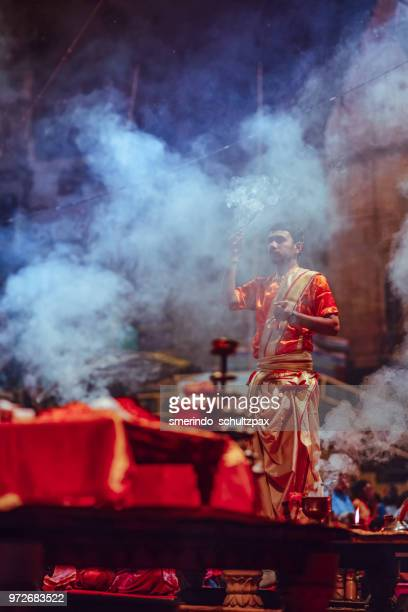 varanasi ghat evening ritual - ghat stock pictures, royalty-free photos & images