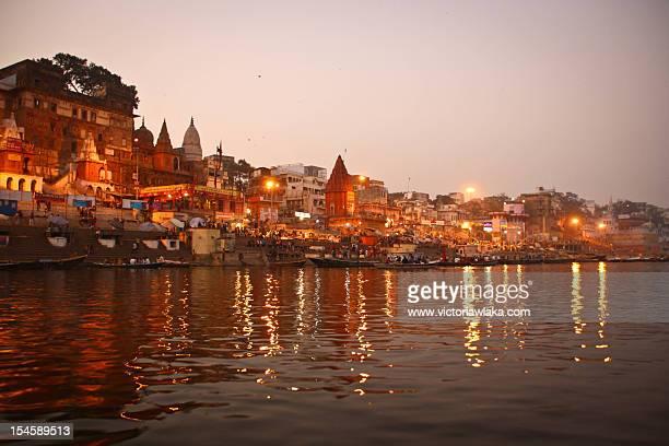Varanasi ghats at sunset