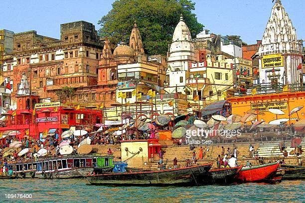 Varanasi Ghats lining the River Ganges