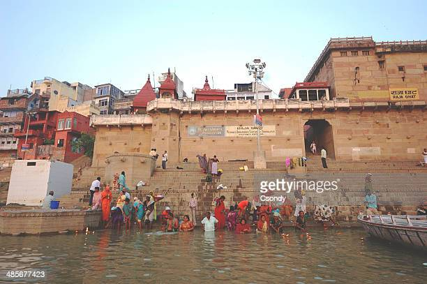varanasi holy place by the ganges - ghat stock pictures, royalty-free photos & images